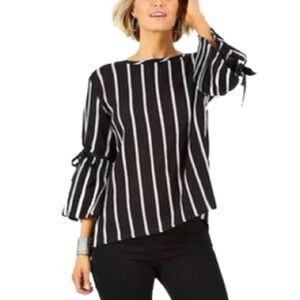 Lucky Brand Black Grey Stripes Bell Sleeves Top